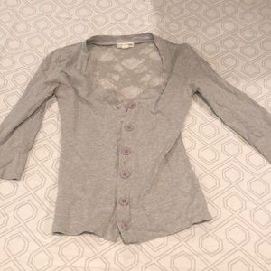gray button up with lace back